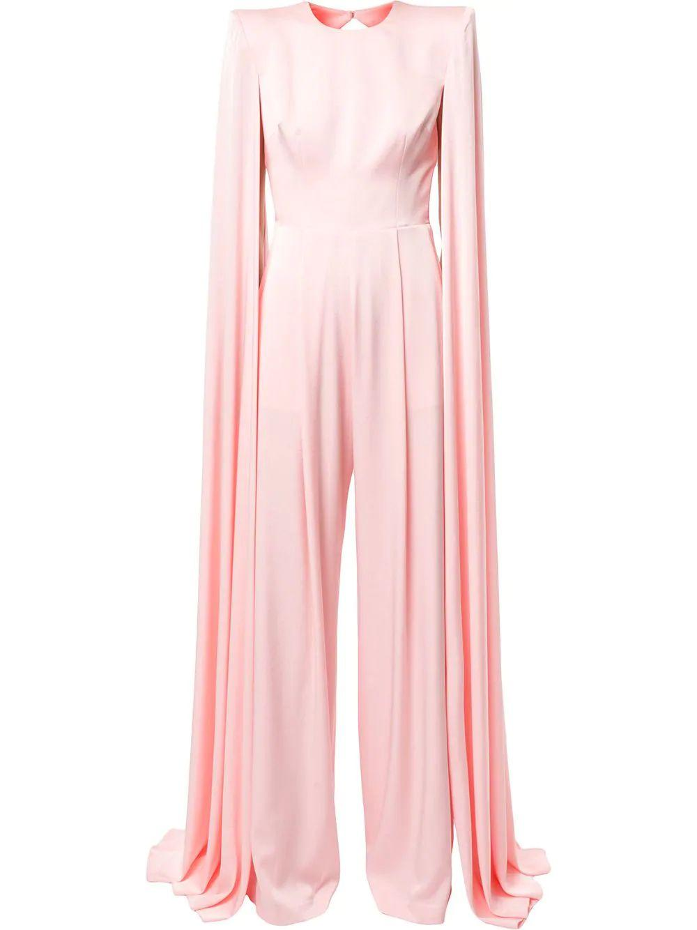 Halston Satin Cape Jumpsuit Item # JS003