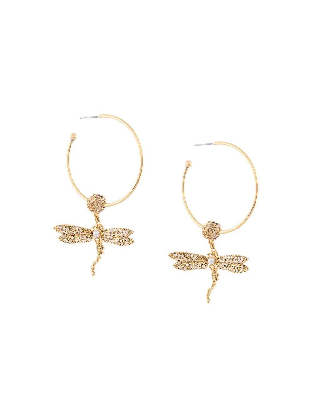 Pave Dragonfly Hoop Post Earring Item # S20J163