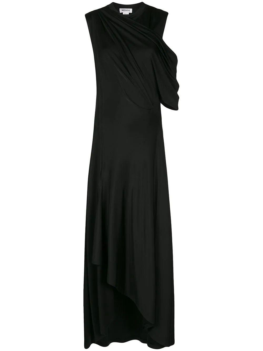 Asymmetrical Drape Shoulder Gown Item # MS200214SLK