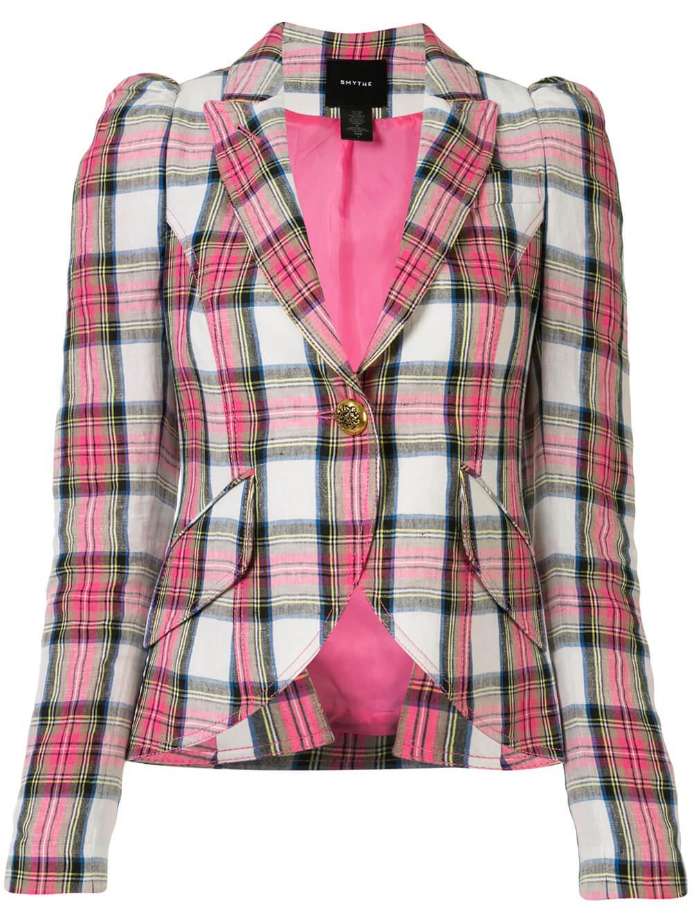 Linen Plaid Puff Sleeve Blazer Item # SP2010B