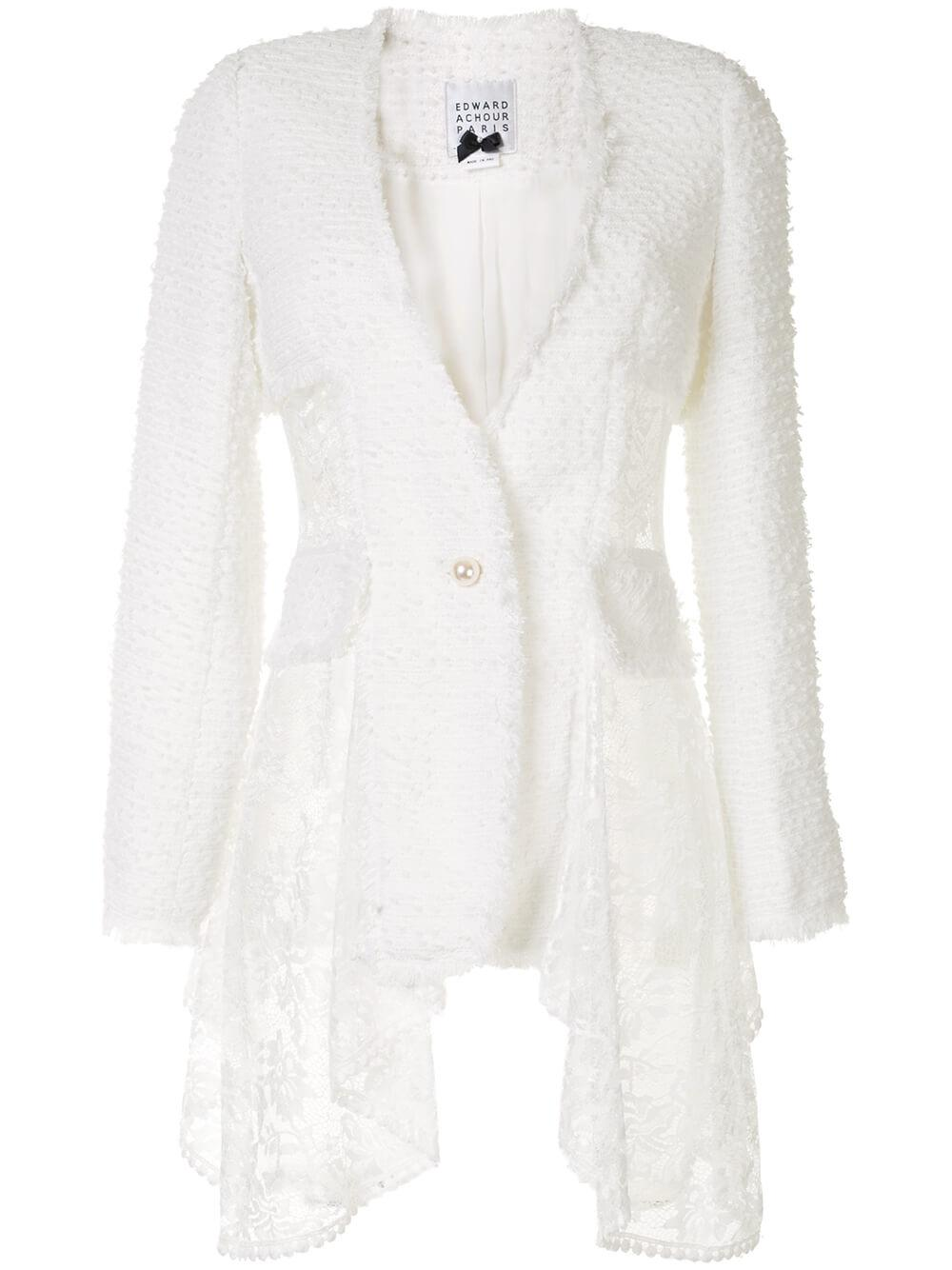 Single Button Jacket With Lace Detailing