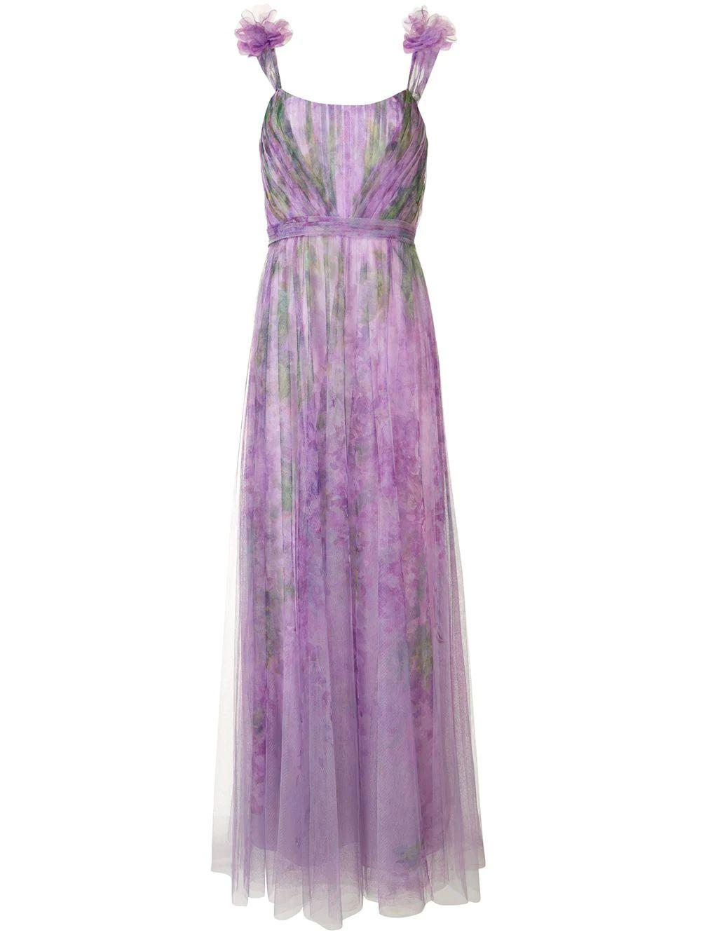 Ots Printed Tulle Gown With 3d Flowers Item # N39G1897