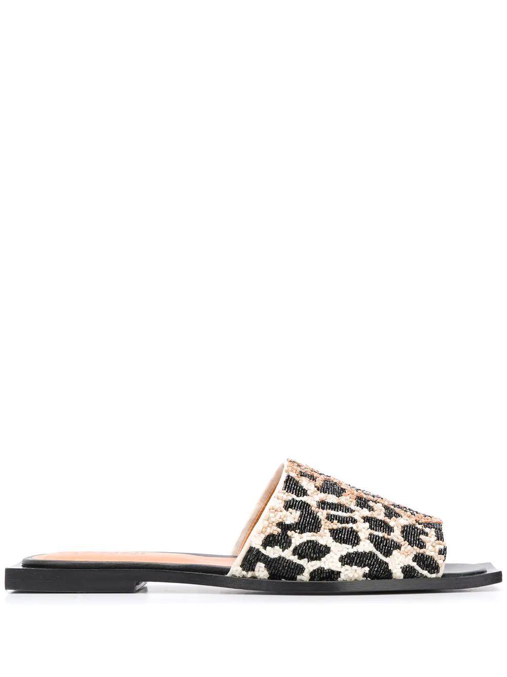 Leopard square Toe Slide Sandal