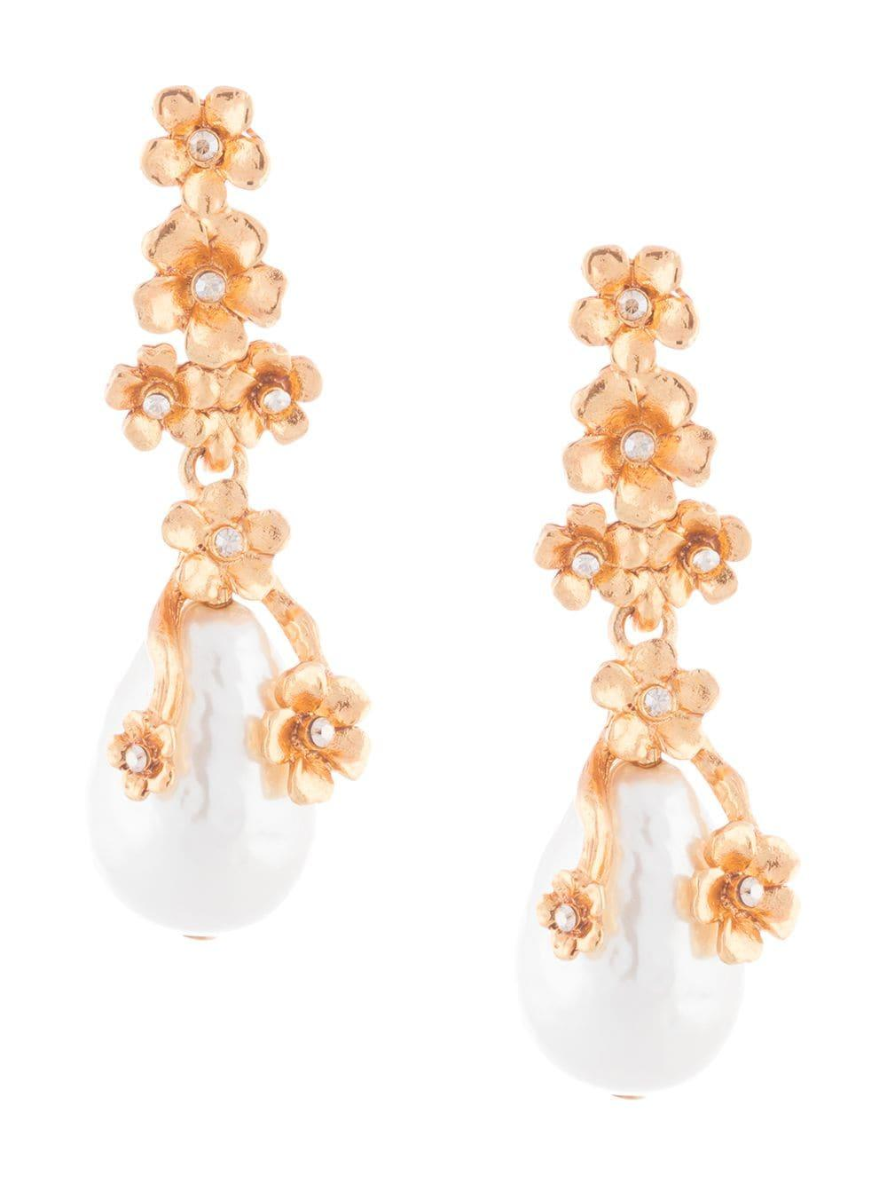 Pearl Flower Drop Earrings