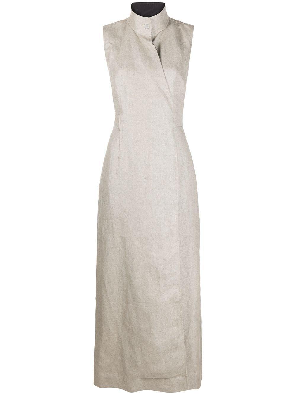 Linen Sleeveless High Neck Dress Item # F4549