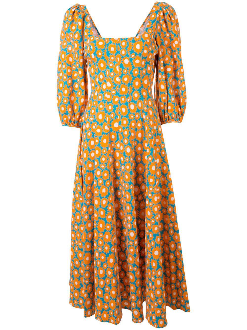 Swells Printed Linen Daisy Midi Dress
