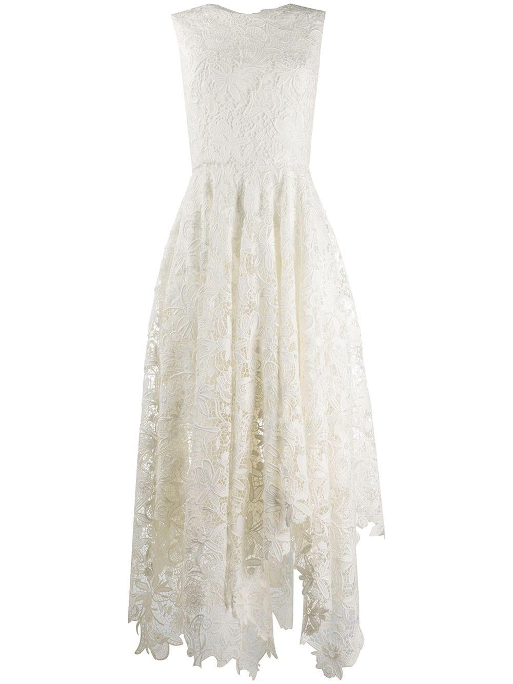 Sleeveless All Over Lace Dress With Asymmetrical Hem