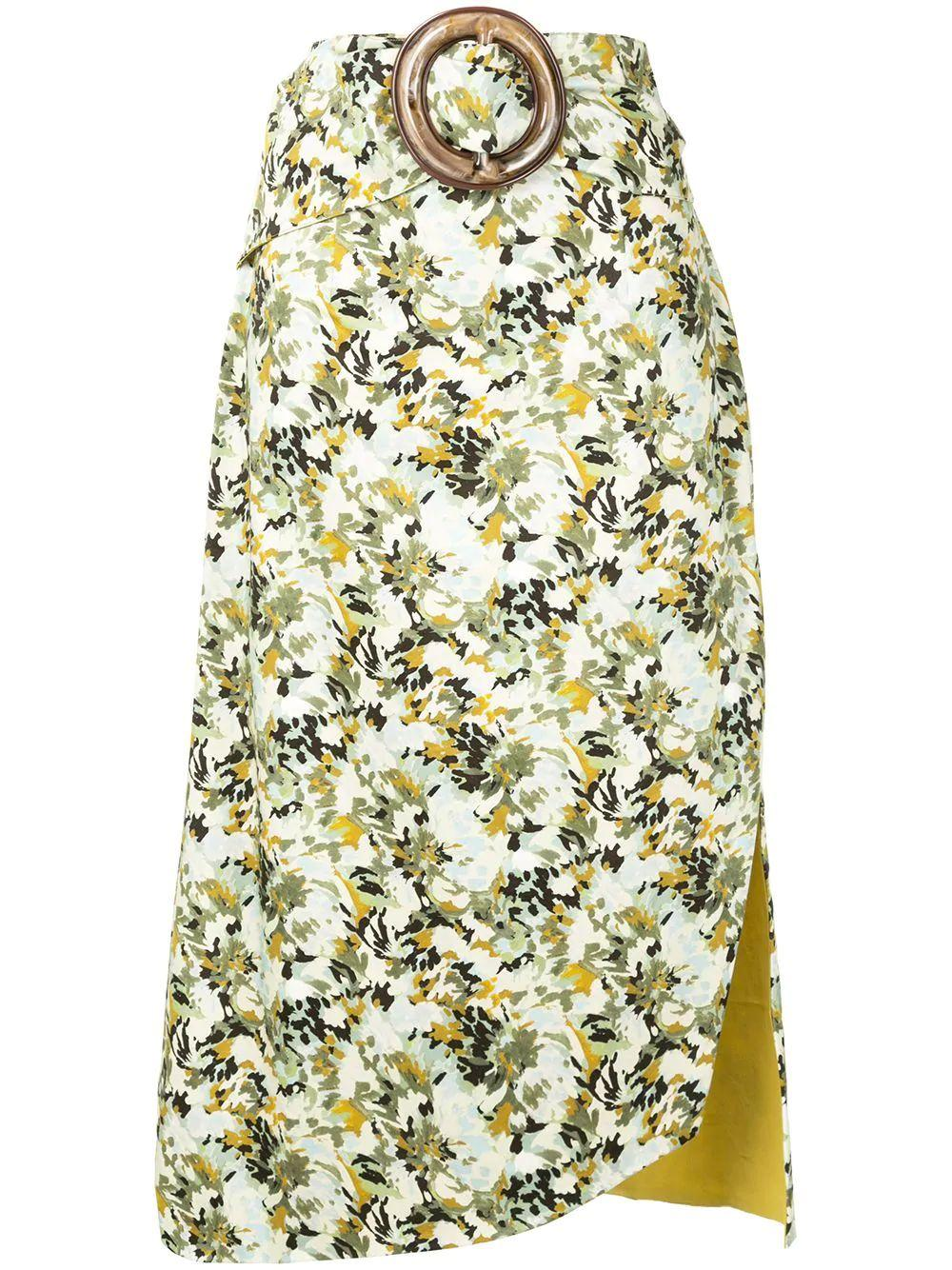 Floral Midi Skirt With Belt