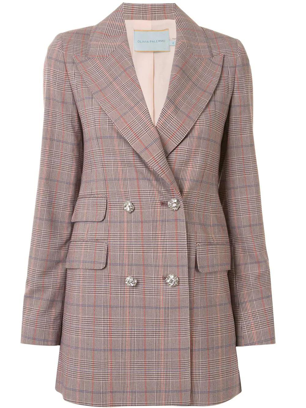 Plaid Crystal Suit Jacket