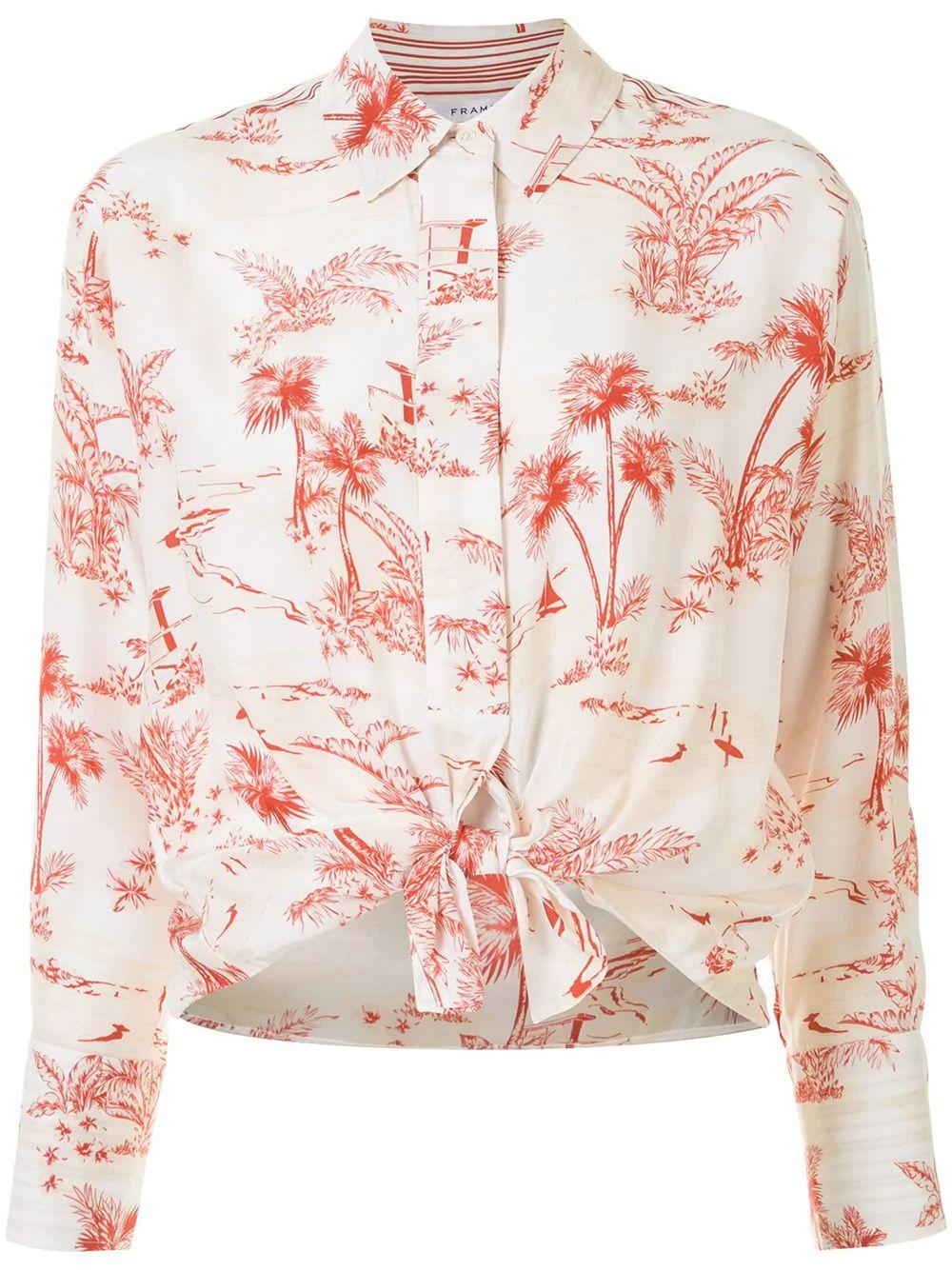 Tie Front Toile Print Blouse