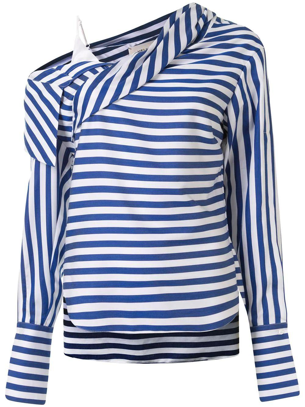 Stellars Striped Cotton Sateen Blouse Item # HS20T263-35
