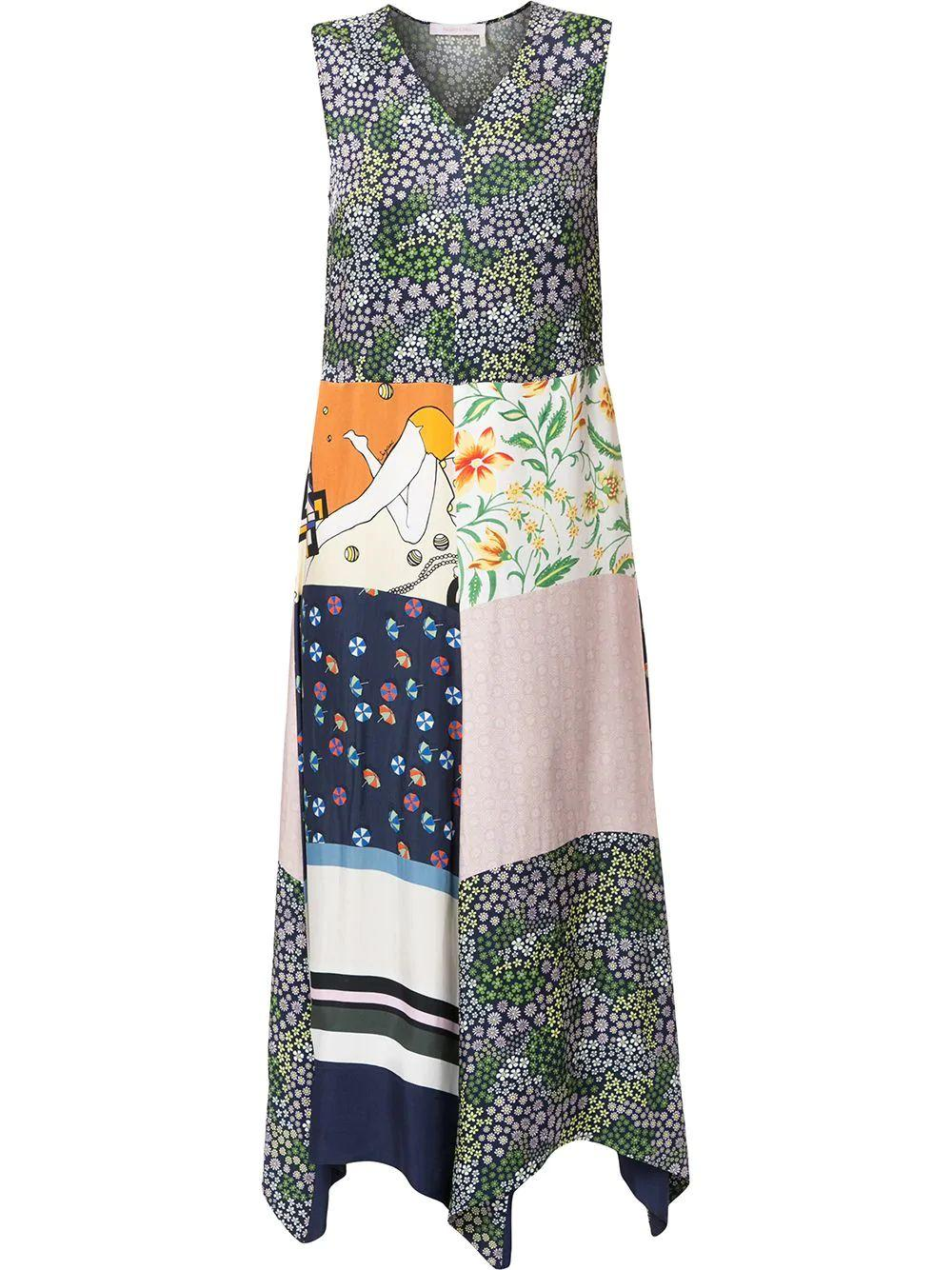Patchwork Silk Sleeveless Midi Dress