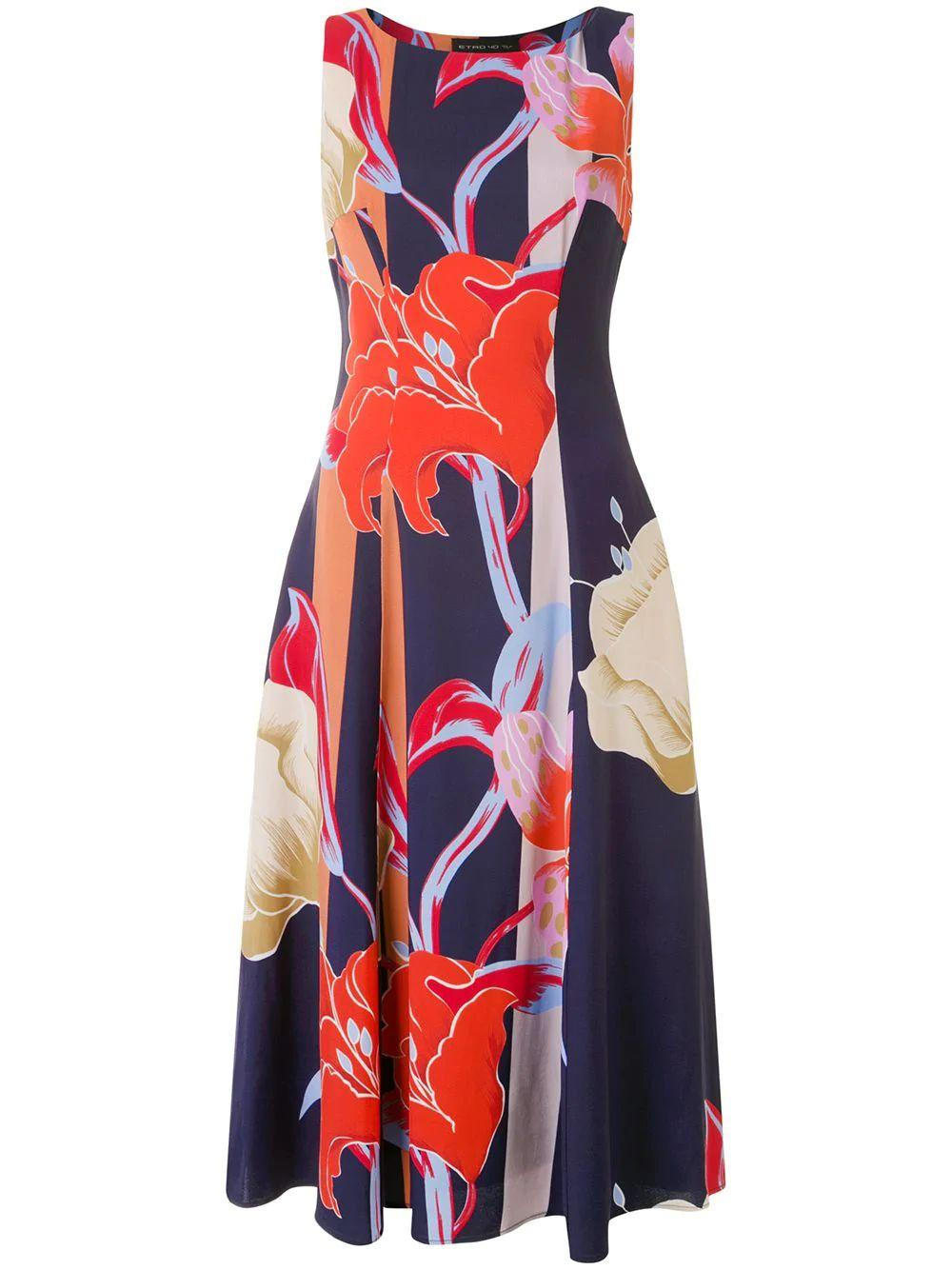 Ibisco Sleeveless Printed Fit Flare Dress