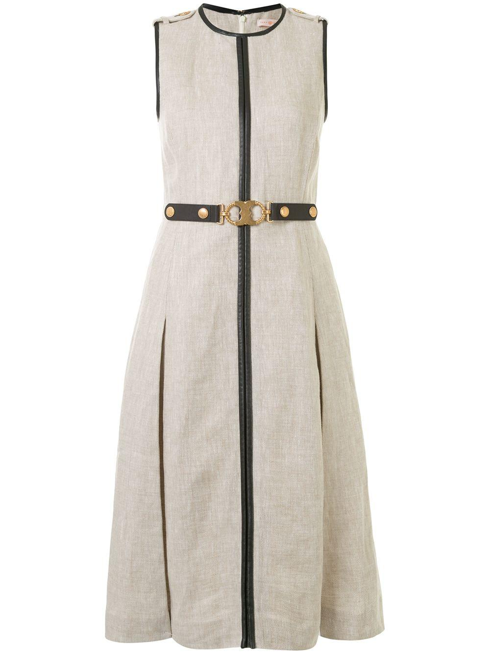 Leather Trimmed Linen Dress