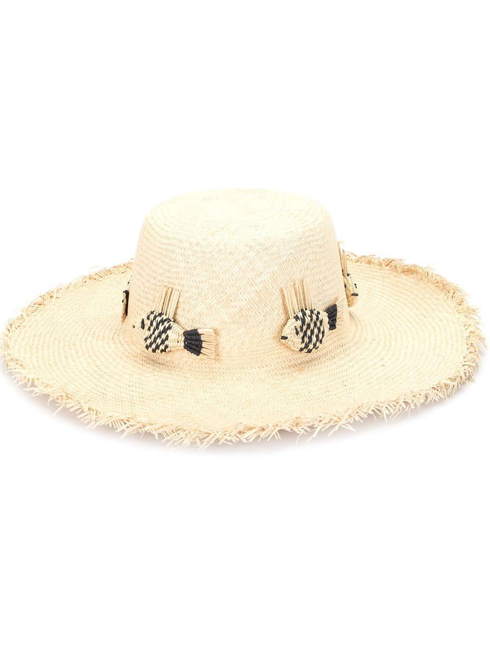 Straw Hat With Fringe Brim