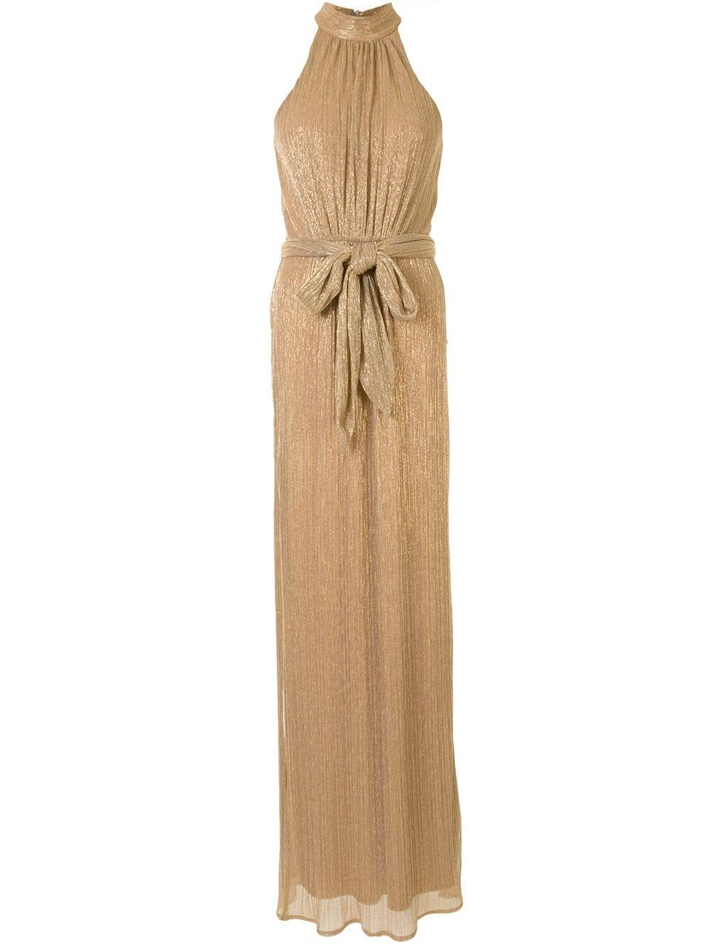 Ruched Metallic Halter Gown
