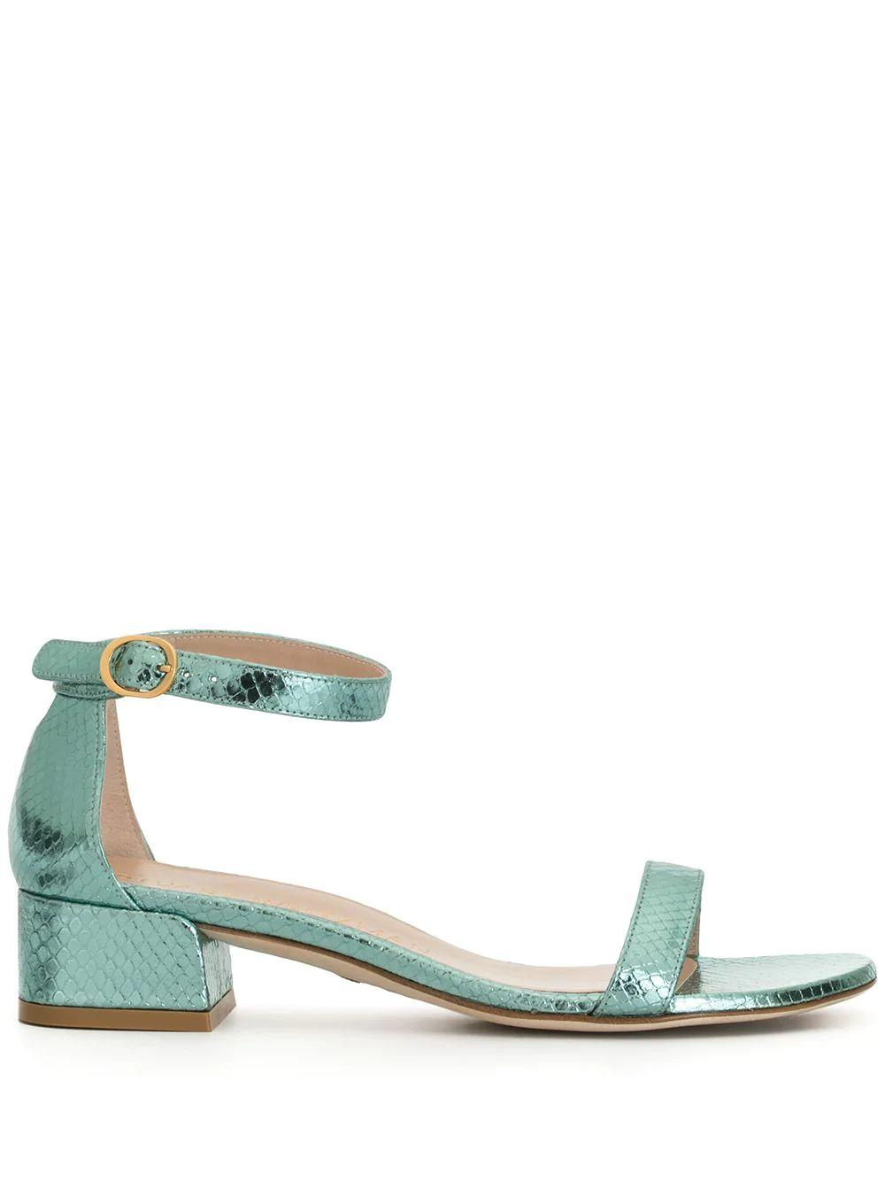 Nudist June Snake Print Block Heel Sandal Item # NUDISTJUNE