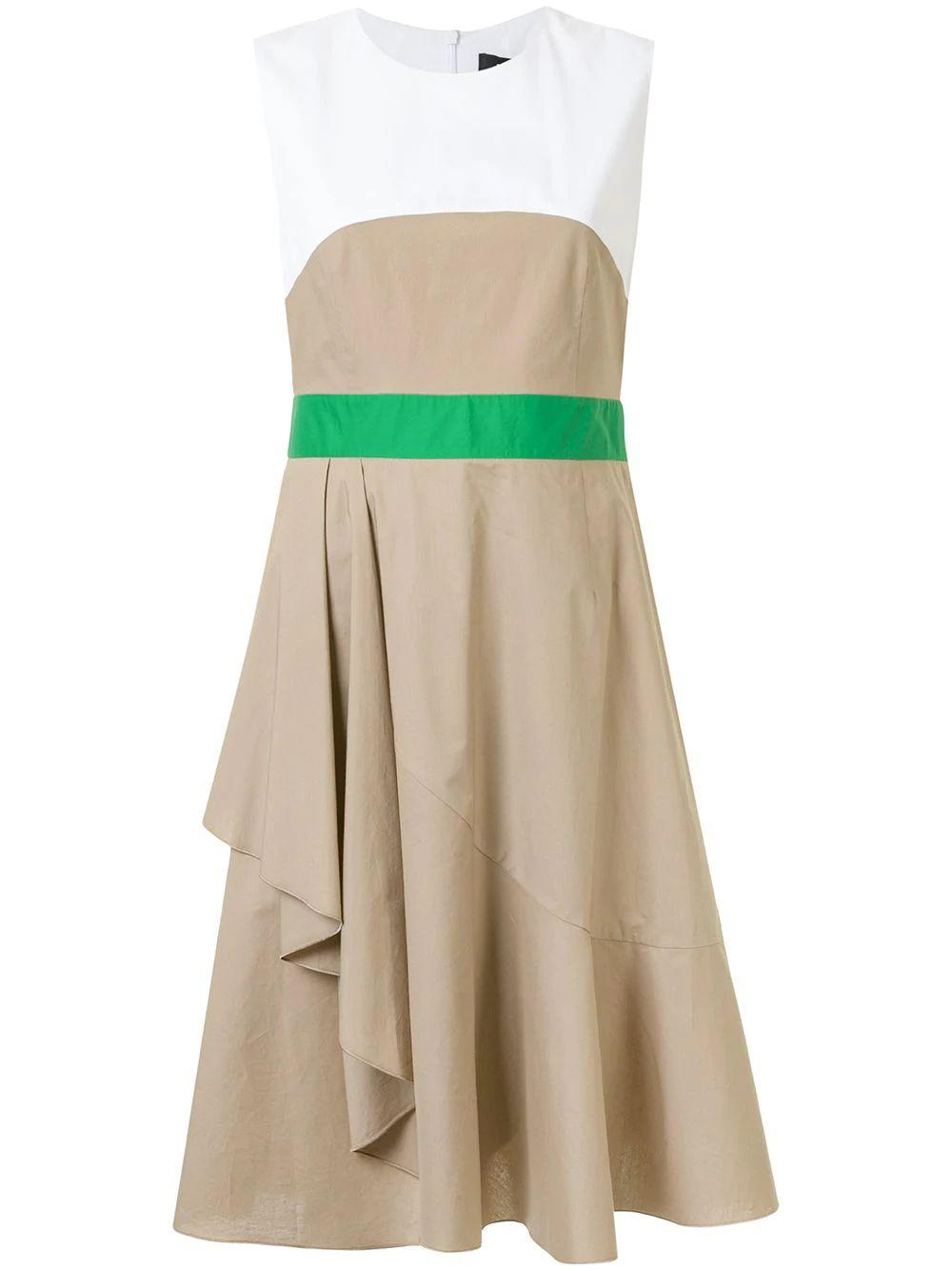 Color Block Dress With Side Drape