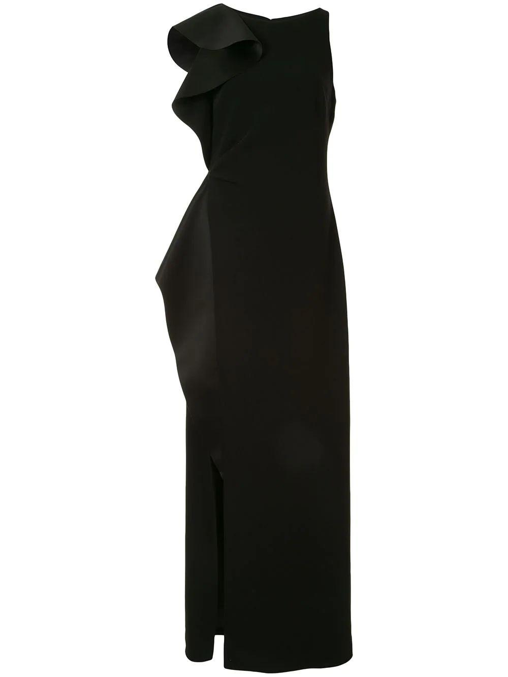Asymmetric Flounce Gown With Slit Item # 1012259