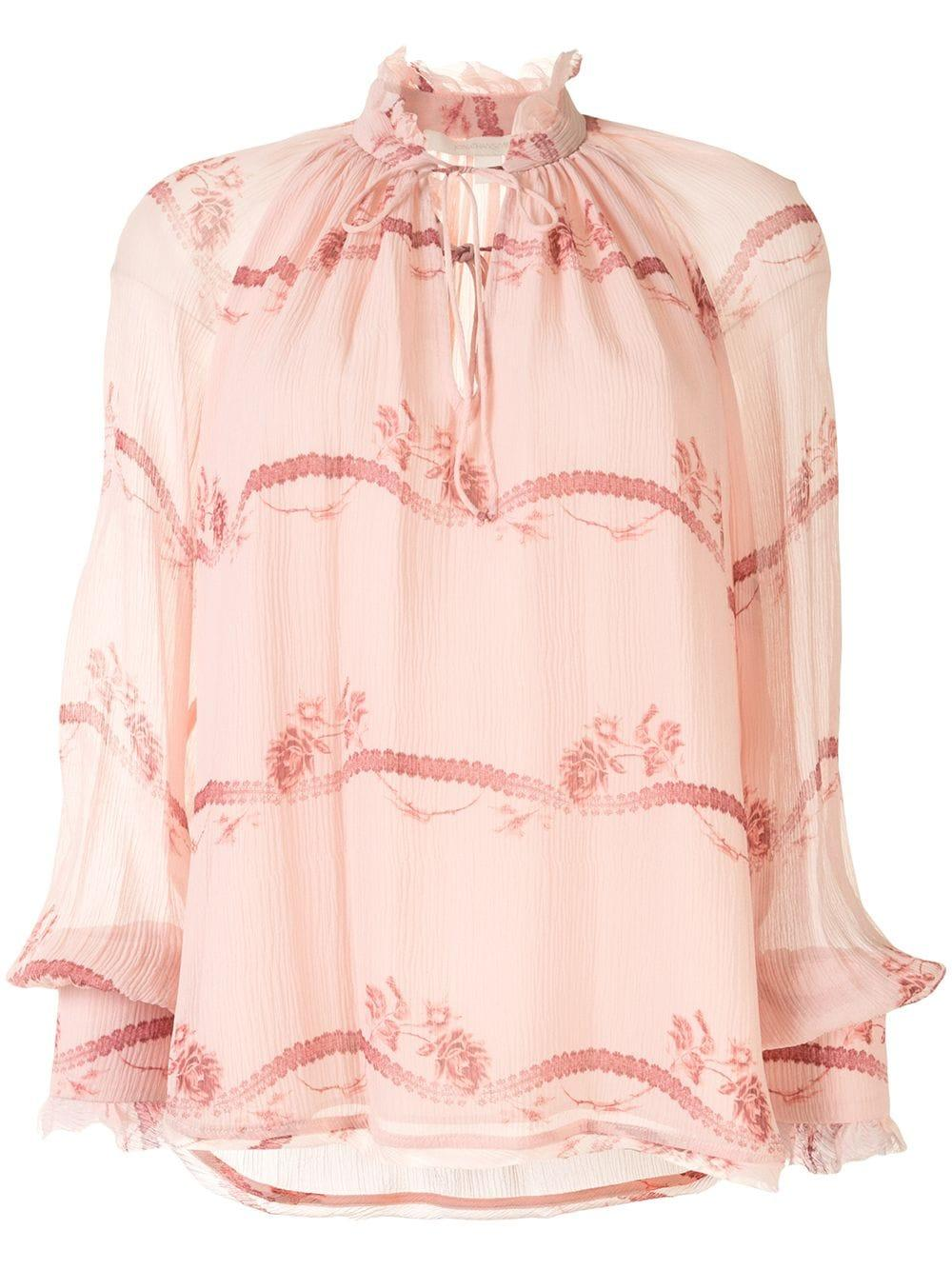 Monica Rose Print Silk Long Sleeve Top