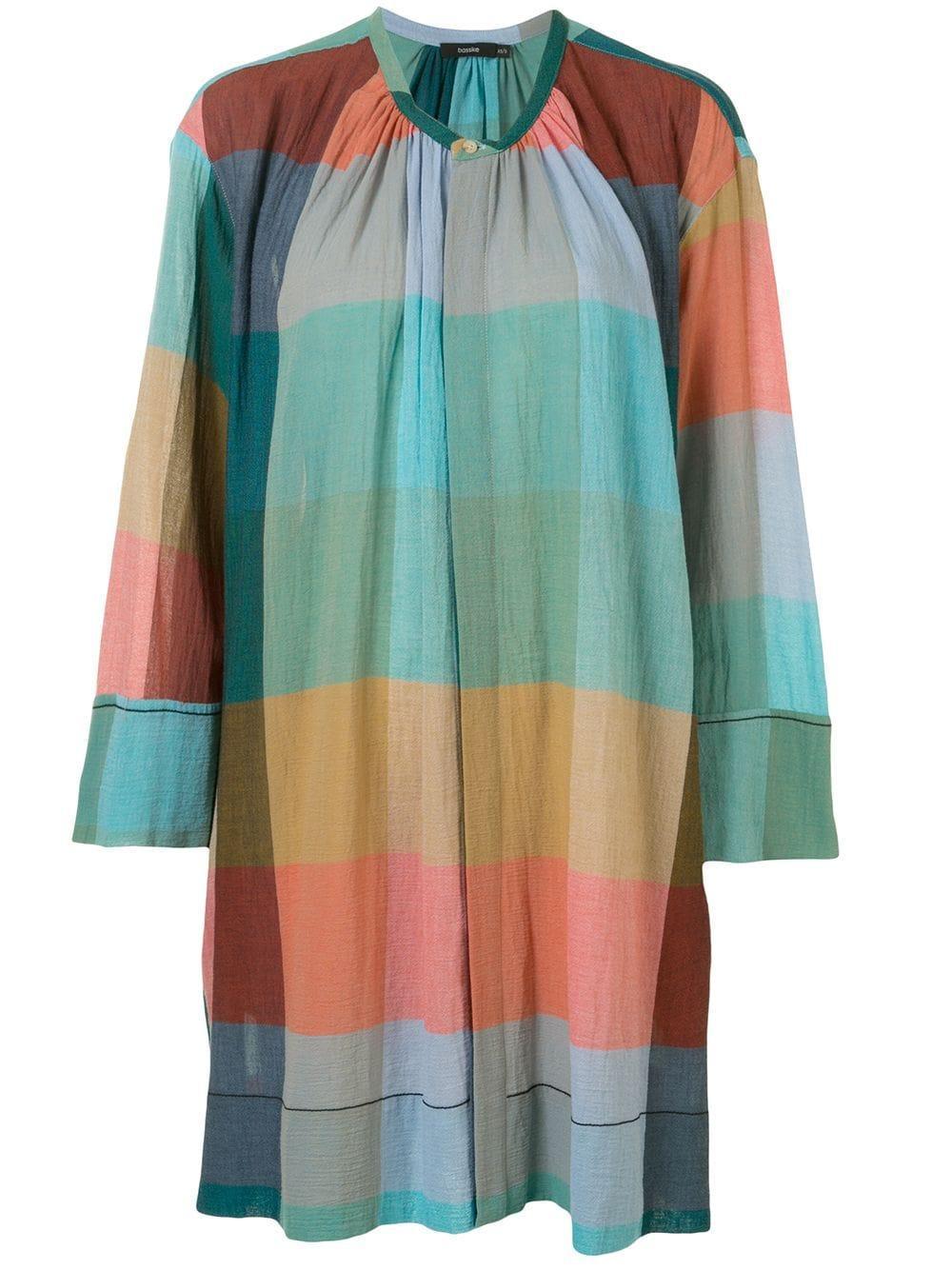 Check Gauze Gathered Neck Dress Item # R20WFD40