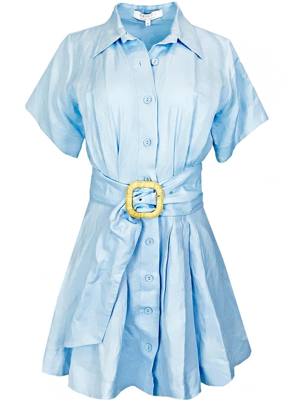 Liza Short Sleeve Belted Mini Dress Item # 20SPD10