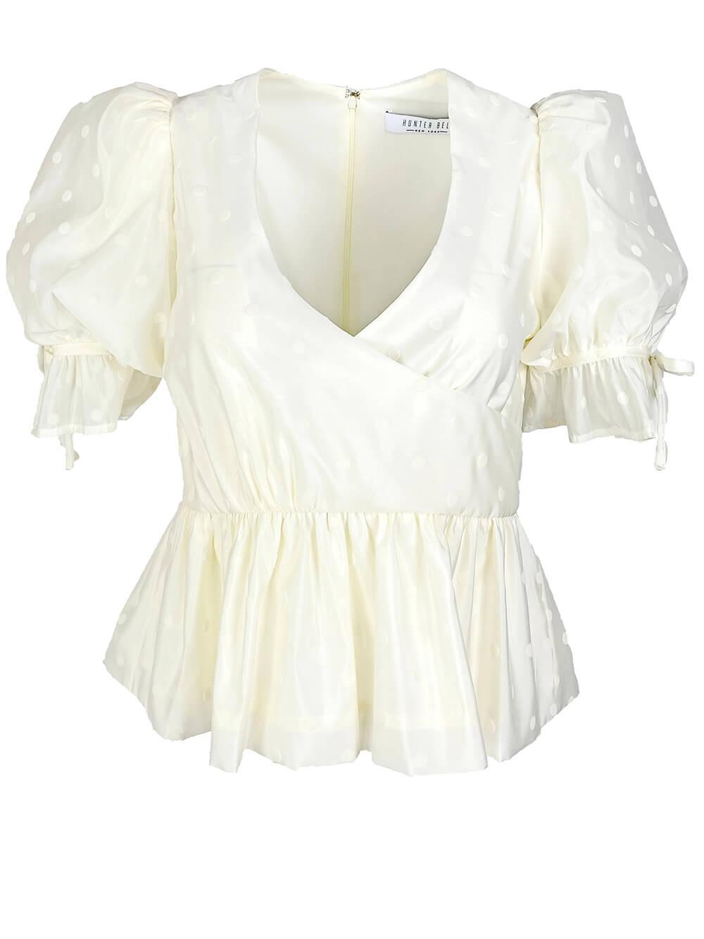 Anna Short Sleeve Dot Cinched Waist Top Item # 20SPT2