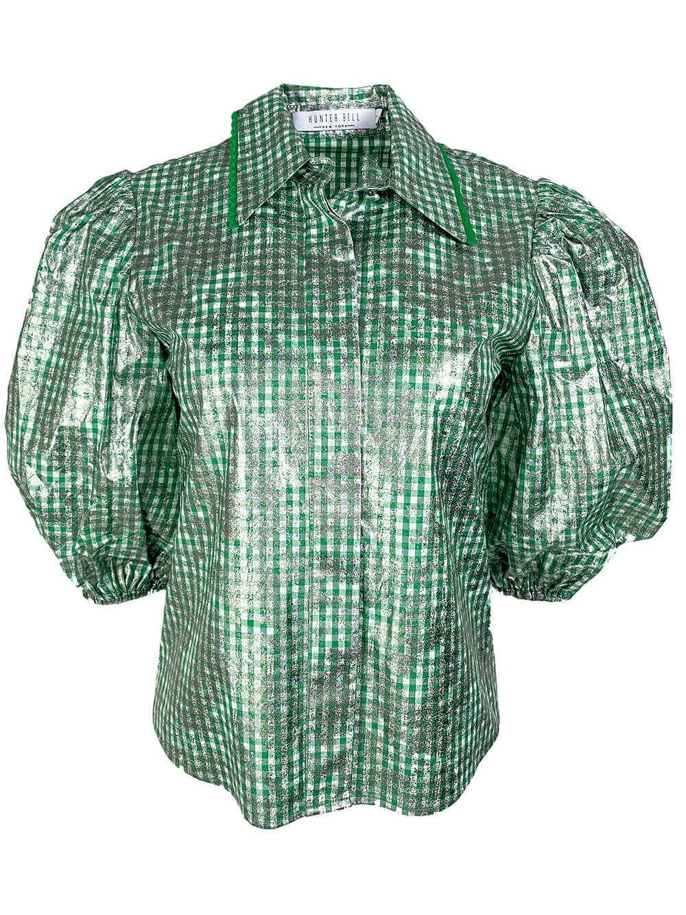 Dawson Metallic Short Sleeve Gingham Top Item # 20SPT1