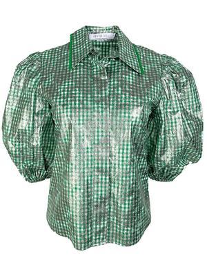 Dawson Metallic Short Sleeve Gingham Top