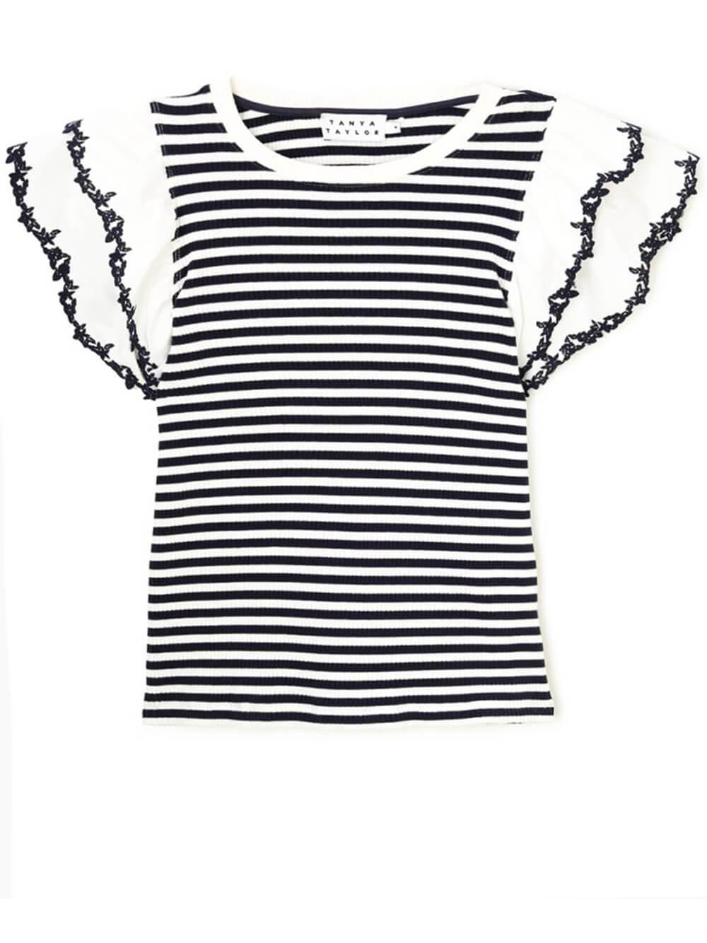 Adrien Striped Ruffle Sleeve Top Item # S20T701131