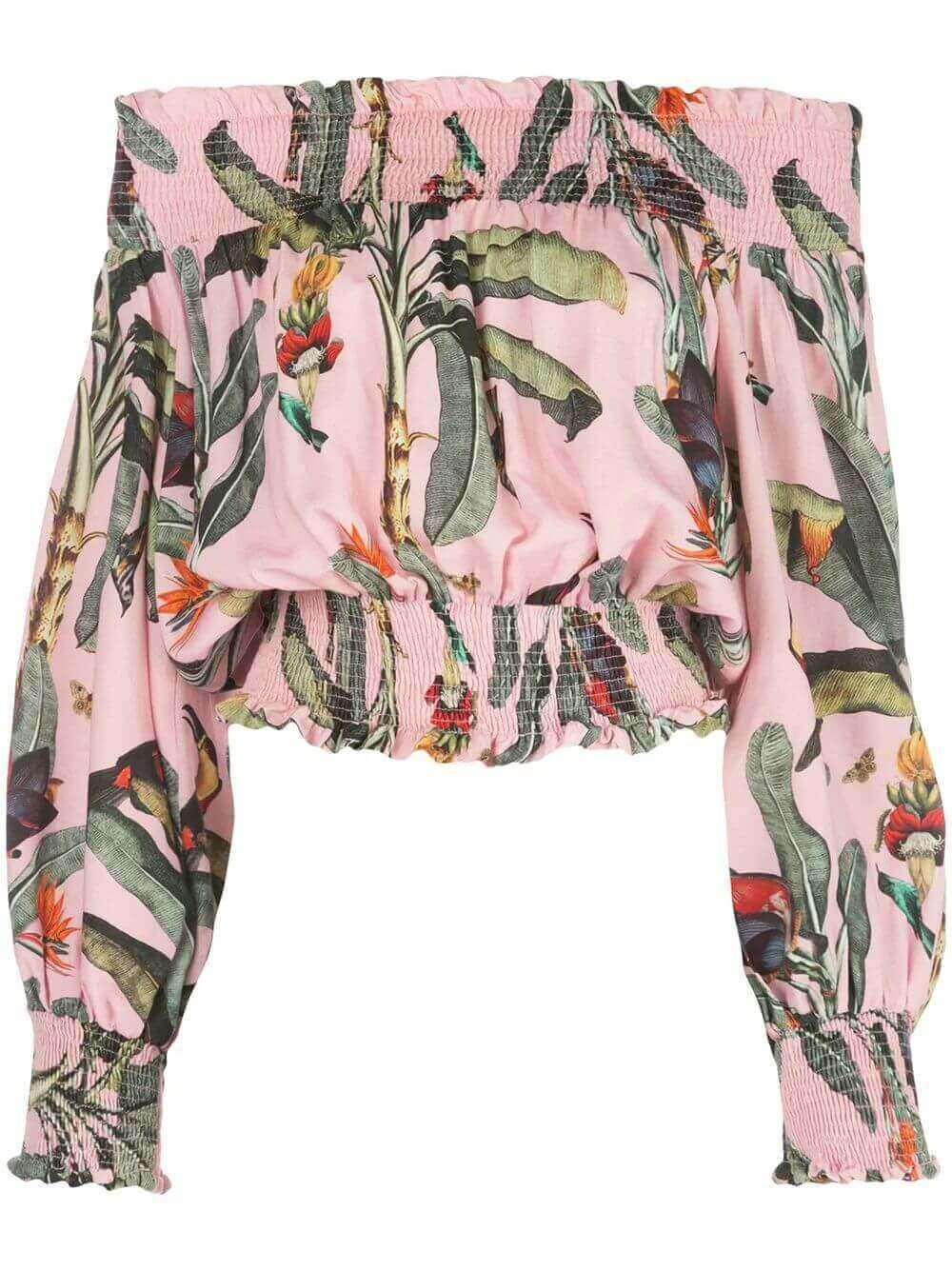 Tropical Print Off The Shoulder Top