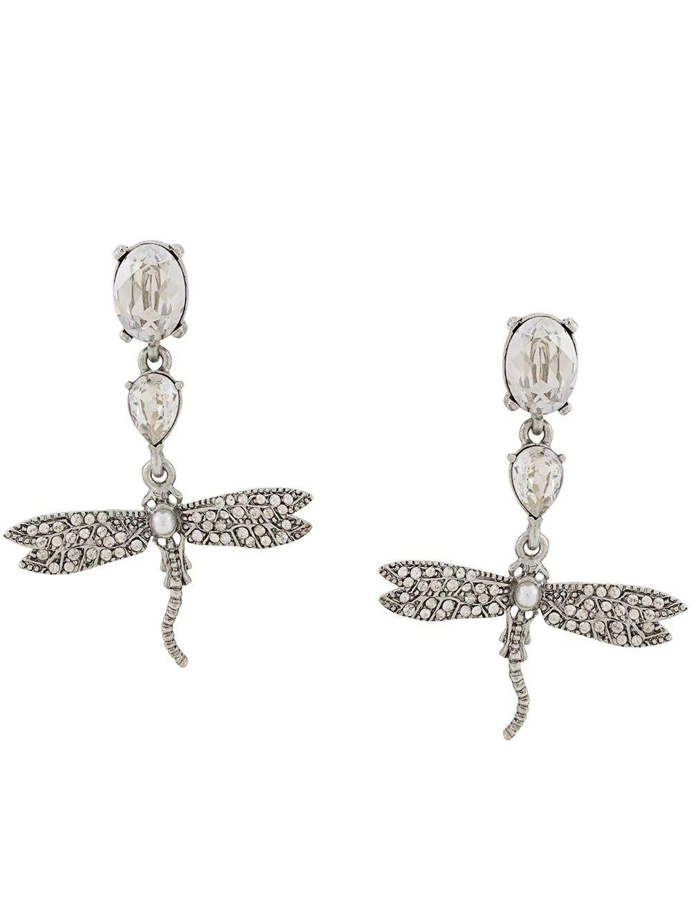 Crystal/Pave Dragonfly Drop Post Earring