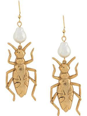Pearl Bug Post Earring