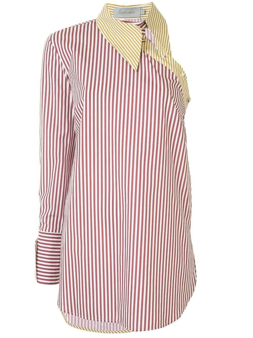 Tania One Shoulder Stripe Shirt Item # TANIA-SHIRT