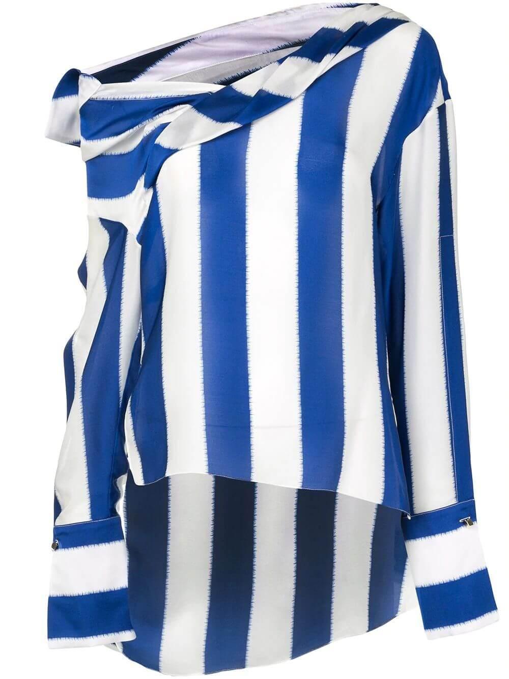Striped Silk Satin Blouse Item # HR20T255-95