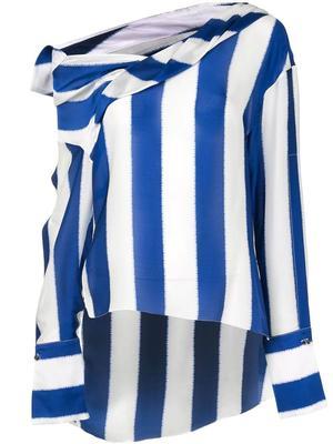 Striped Silk Satin Blouse