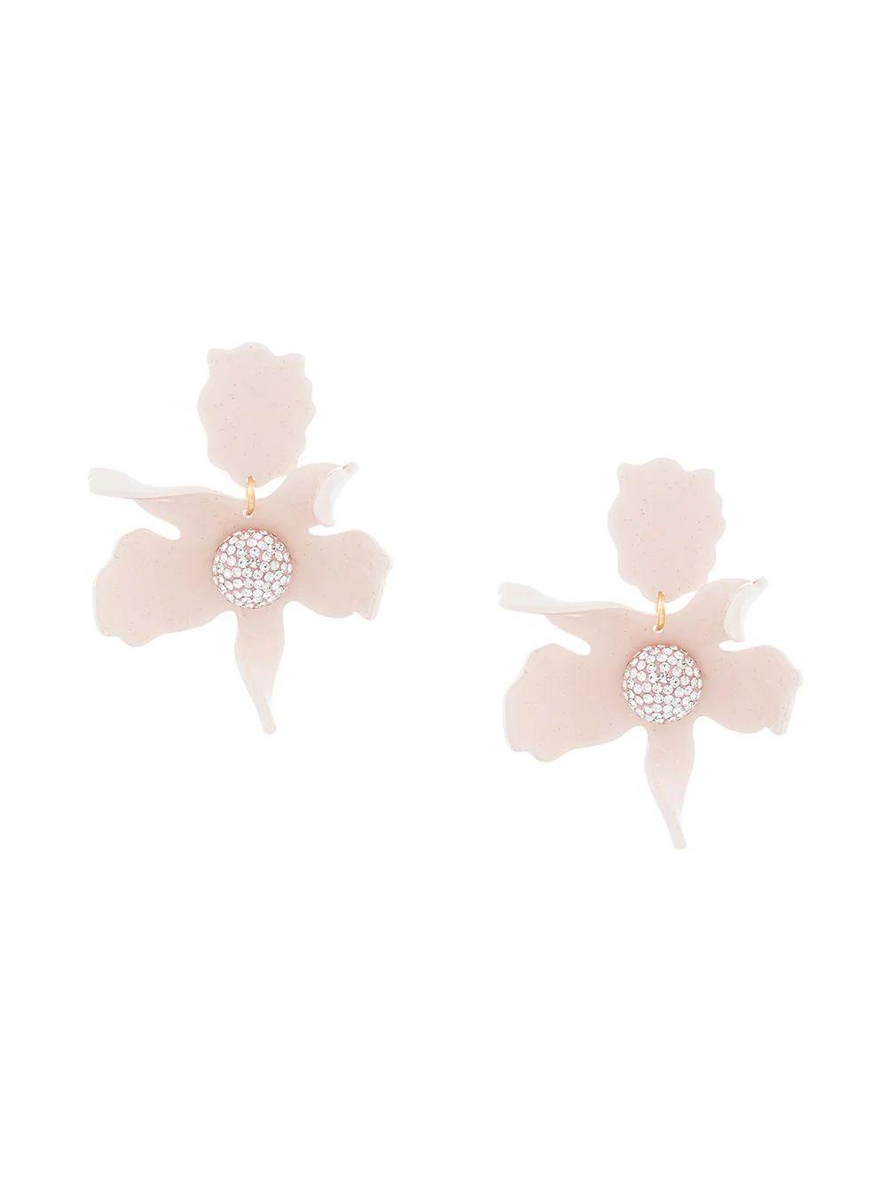 Crystal Lily Pierced Earrings Item # LS0349DP