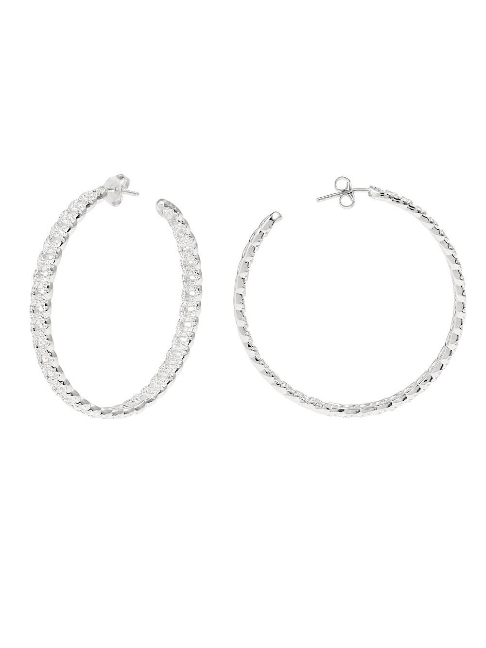 Pave Curb Chain Hoops