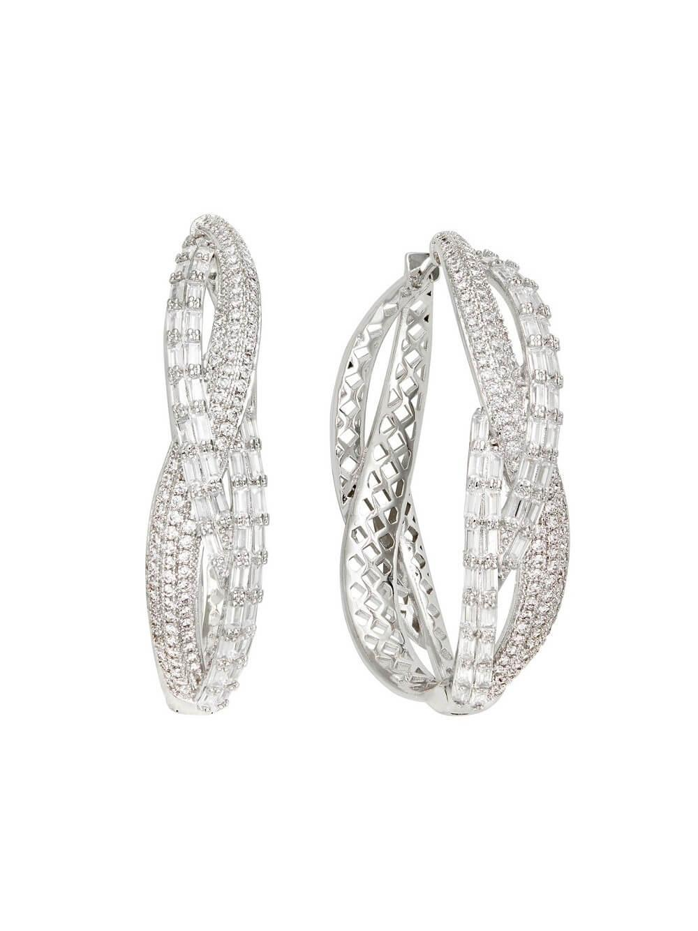 Pave Baguette Twisted Hoops Item # FE22028