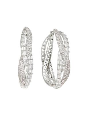 Pave Baguette Twisted Hoops