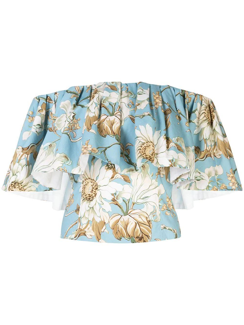 Off The Shoulder Floral Motif Blouse Item # 20PN734IDP