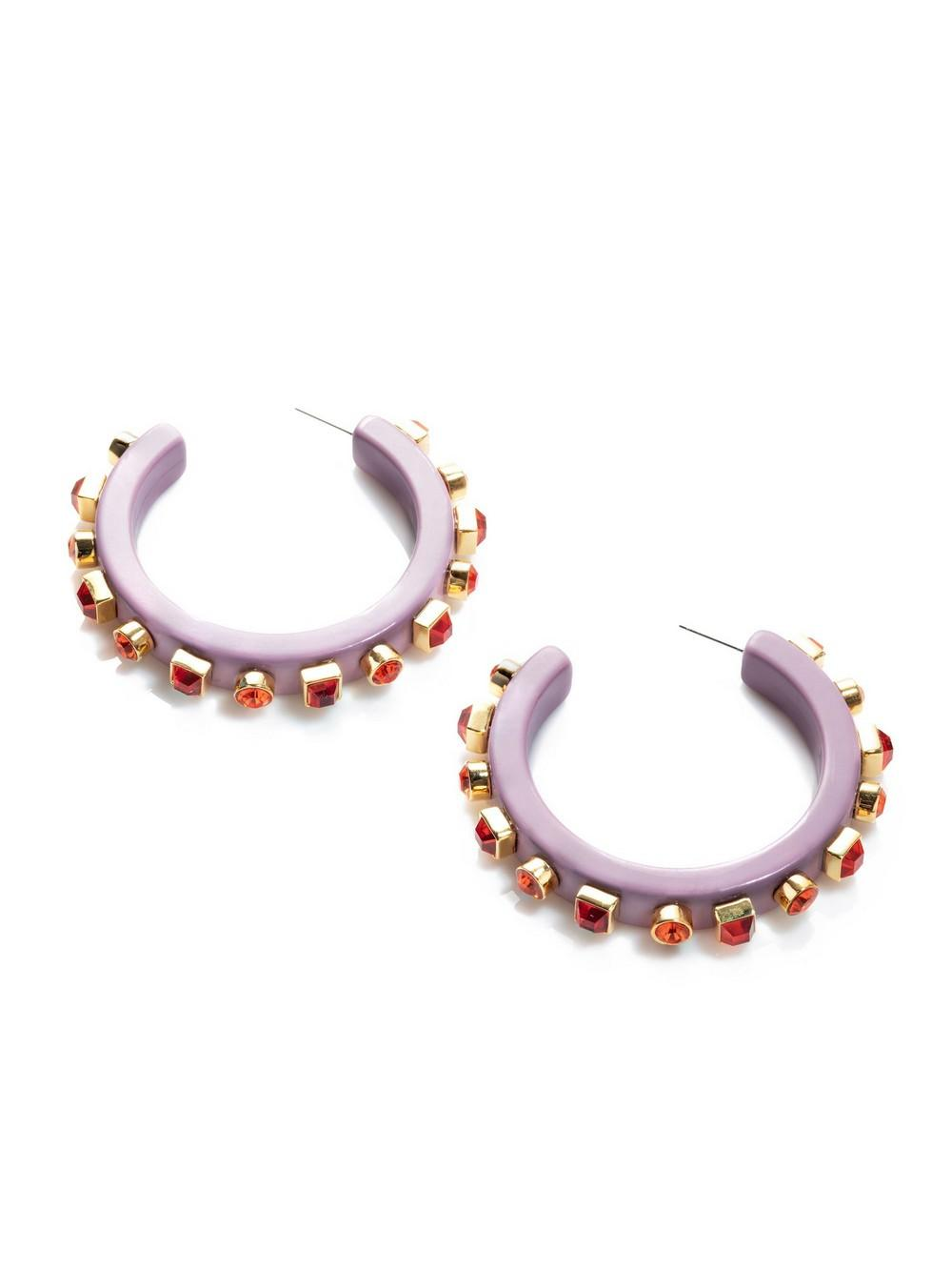 Crystal Block Hoop Earrings