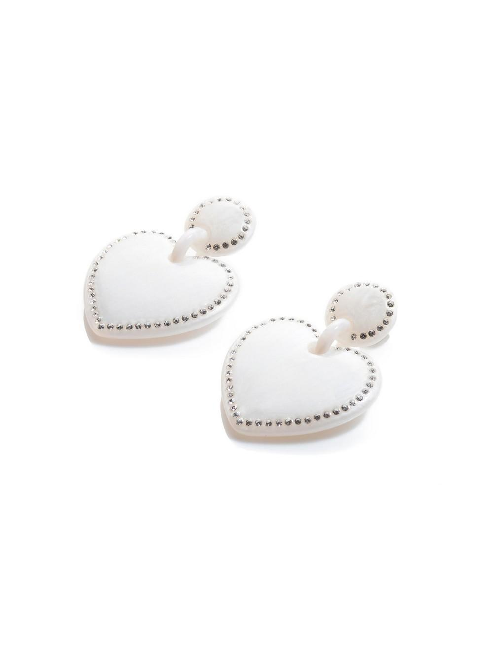 Jeweled Stitched Heart Earrings Item # LS0966MP