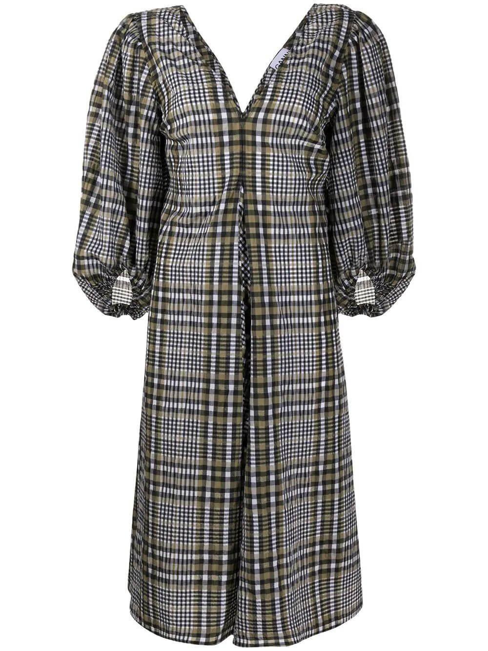 Seersucker Check V-Neck Midi Dress