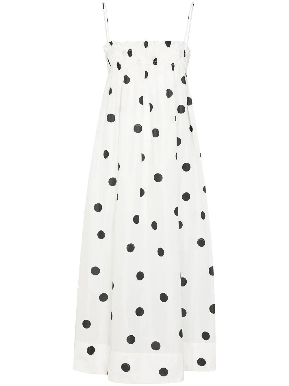 Recycled Polyester Polkadot Midi Dress Item # F4756