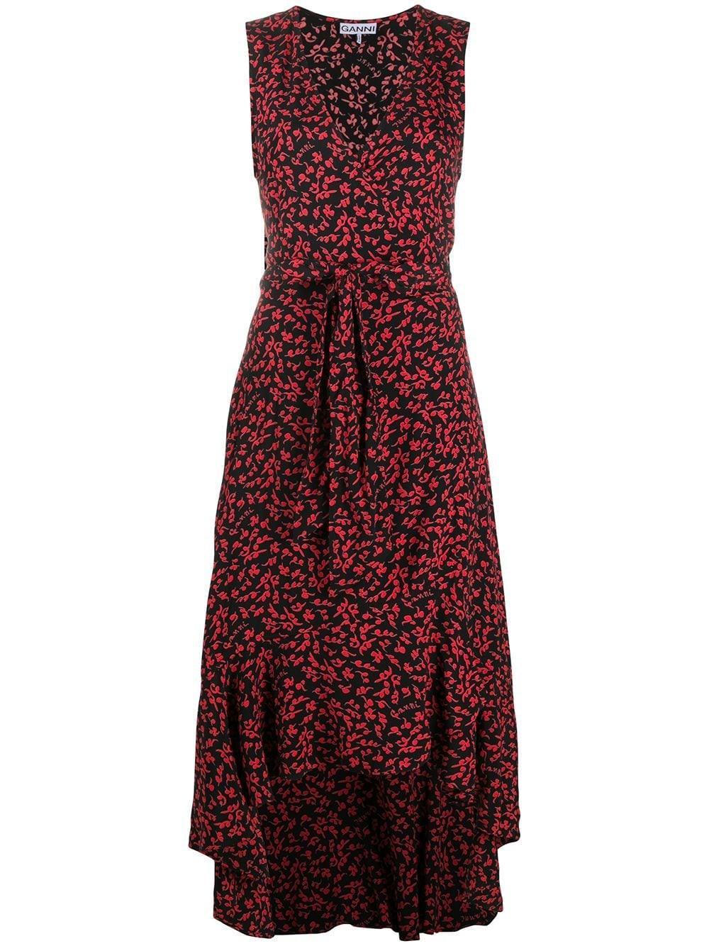 Printed Crepe Maxi Wrap Dress Item # F4915