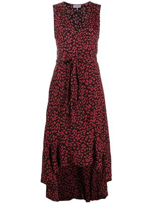 Printed Crepe  Maxi Wrap Dress