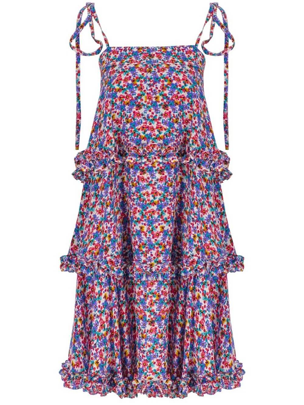 Shoulder Tie Tiered Mini Dress