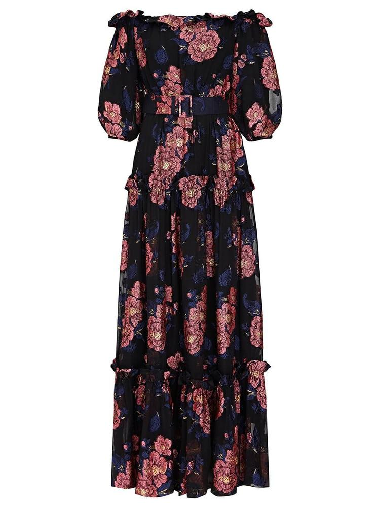 Gwendolyn Moon Flower Print Maxi Dress Item # GWENDOLYN