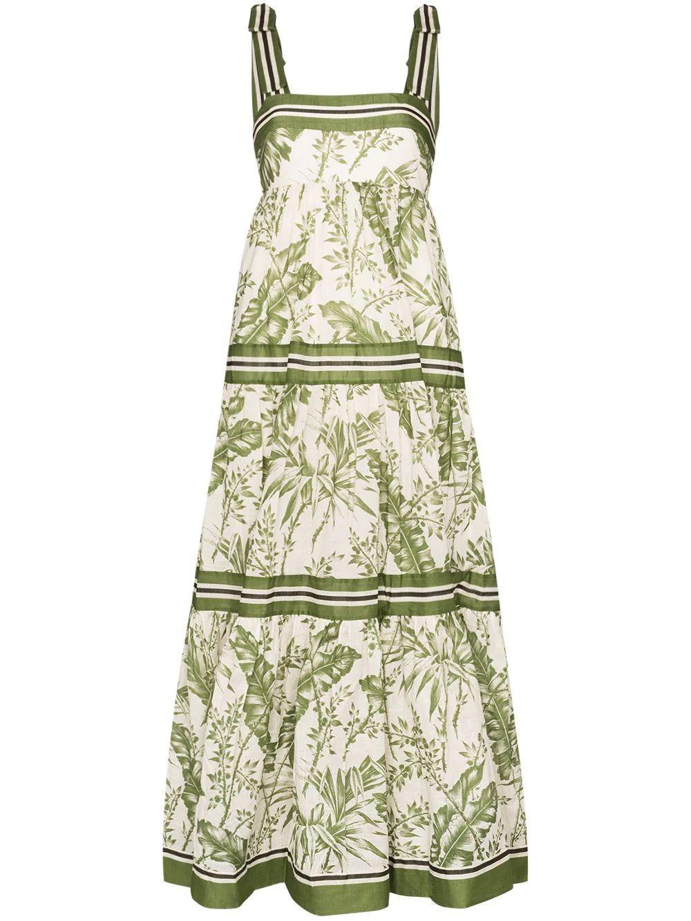 Empire Leaf Print Tie Shoulder Maxi Dress